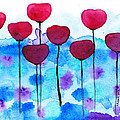 Red Flowers Watercolor Painting by Karen Pappert