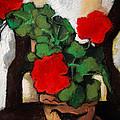 Red Geranium by Mona Edulesco