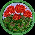 Red Geranium on wood Print by Anna Folkartanna Maciejewska-Dyba
