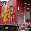 Red Sante Fe Caboose Train . 7d10334 by Wingsdomain Art and Photography