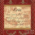 Red Traditional Love Print by Debbie DeWitt