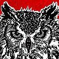 Redder Hotter Eagle Owl by Julia Forsyth
