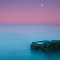 Rock At Coast With Rising Moon by Matthias Kirsch / matkirsch.de