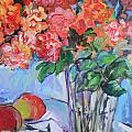 Roses And Peaches by Carol Mangano