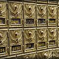Rows Of Post Office Mailboxes With Combination Locks And Brass O by ELITE IMAGE photography By Chad McDermott