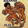 Rugby player running with ball attack by lion Print by Aloysius Patrimonio