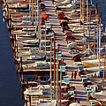 Sailboats At Moorage by Harald Sund