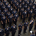 Sailors Stand At Attention During An by Stocktrek Images