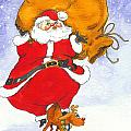 Santa And Rudolph by Peggy Wilson