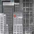 Santa Clause Running On A Skyscraper by Jutta Kuss