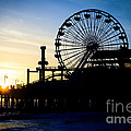 Santa Monica Pier Ferris Wheel Sunset Southern California by Paul Velgos