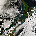 Satellite View Of New Zealand by Stocktrek Images
