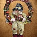 Scarecrow On Autumn Wreath by Linda Phelps