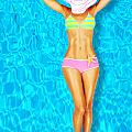 Sexy woman body in the pool  Print by Anna Omelchenko