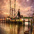 Shrimp Boat At Sunset II by Debra and Dave Vanderlaan