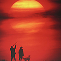 Silhouette Of Couple With Dog, Man Aiming, Sunset by David De Lossy