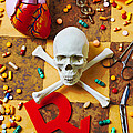 Skull And Bones With Medical Icons by Garry Gay