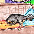Sleeping Rottweiler Dog by Jera Sky