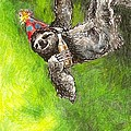 Sloth Birthday Party Print by Steve Asbell