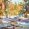 Snowy Autumn - Plein Air by David Lloyd Glover