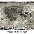 Spacecraft On The Moon, Lunar Map by Detlev Van Ravenswaay