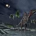 Spinosaurus Witnessing A Lunar Impact by Walter Myers