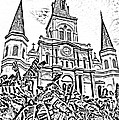 St Louis Cathedral Rising Above Palms Jackson Square New Orleans Photocopy Digital Art by Shawn O'Brien
