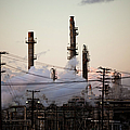 Steam Plumes At Oil Refinery by Hal Bergman