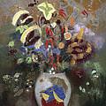 Still Life Of A Vase Of Flowers by Odilon Redon