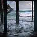 Stormy Pier Print by Gary Zuercher