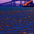 Sun Setting Beyond The Richmond-san Rafael Bridge - California - 5d18435 by Wingsdomain Art and Photography