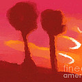 Sunset Abstract Trees by Pixel Chimp