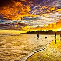 Sunset at the Coast Print by Iris Greenwell