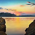 Sunset Between the Rocky Shore Print by Steven Llorca