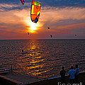 Sunset Kiteboarding On The Pamlico Sound by Anne Kitzman