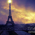 Surreal Fantasy Paris Eiffel Tower Sunset Sky Scene by Kathy Fornal