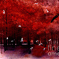 Surreal Fantasy Red Woodlands With Birds Seagull by Kathy Fornal