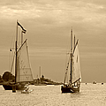 Tall Ships Sailing In Sepia by Suzanne Gaff