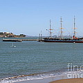 The Balclutha . A 1886 Square Rigged Cargo Ship At The Hyde Street Pier Overlooking Alcatraz.7d14068 by Wingsdomain Art and Photography