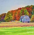 The Barn in Autumn Print by Michael Garyet