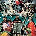 The Coronation Of The Virgin With Saints Luke Dominic And John The Evangelist by Bartolomeo Passarotti