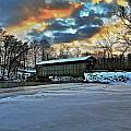 The covered bridge Print by Robert Pearson