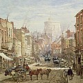 The Household Cavalry in Peascod Street Windsor Print by Louise J Rayner