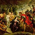 The Meeting of David and Abigail Print by Peter Paul Rubens