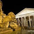 The Pantheon At Night. Piazza Della Rotonda.rome by Bernard Jaubert
