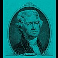 THOMAS JEFFERSON in TURQUOIS Print by ROB HANS