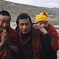 Three Buddhist Lamas In Gansu Province by David Edwards