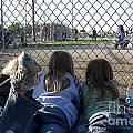 Three Girls Watching Ball Game Behind Home Plate by Christopher Purcell