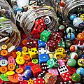 Three Jars Of Buttons Dice And Marbles by Garry Gay