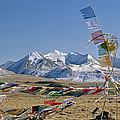 Tibetan Buddhist Prayer Flags Atop Pass by Gordon Wiltsie